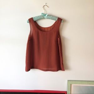 Red Orange Raw Silk Sleeveless Top